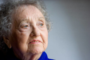 Elderly woman worried about identity theft
