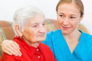 Elderly woman respite care aide