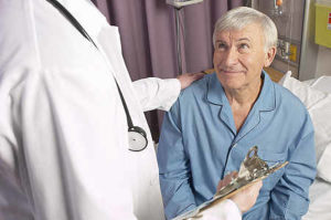 senior man with advance directive in hositial